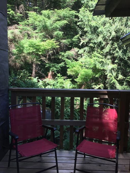 Al fresco everything on the private deck surrounded by forest and sky