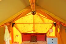 Morning sun.  There is an infrared heater for added warmth and a smoke alarm in the tent.