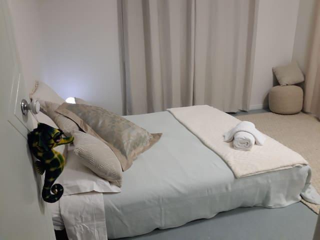 Guest room, queen bed, organic linen built in mirrored robe.