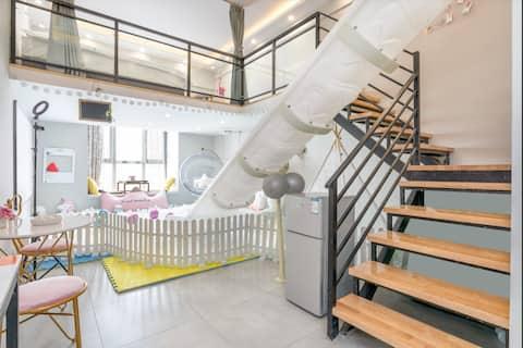 【缘宿】复式loft轻奢影院、网红滑梯房