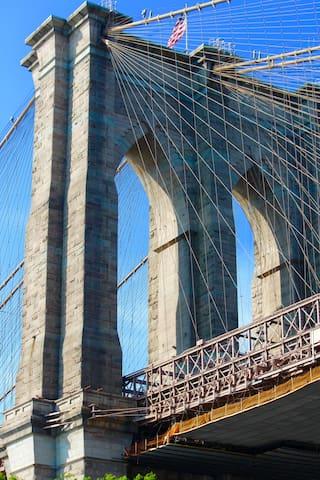 Walk to and across the Brooklyn Bridge