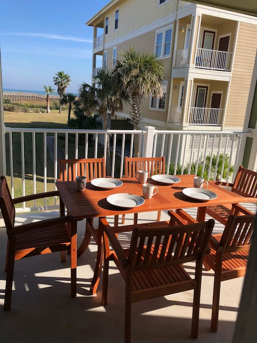 Enjoy Breakfast and lunch on this beautiful balcony with the Ocean view