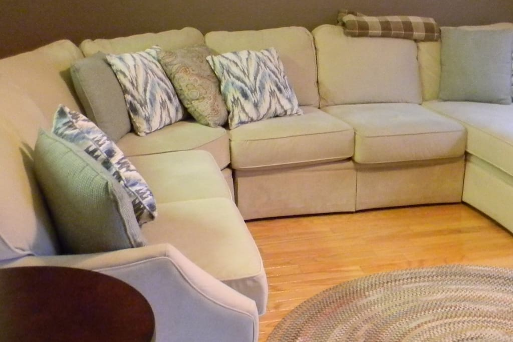 The living room sectional offers a wonderful spot to visit with family or friends.