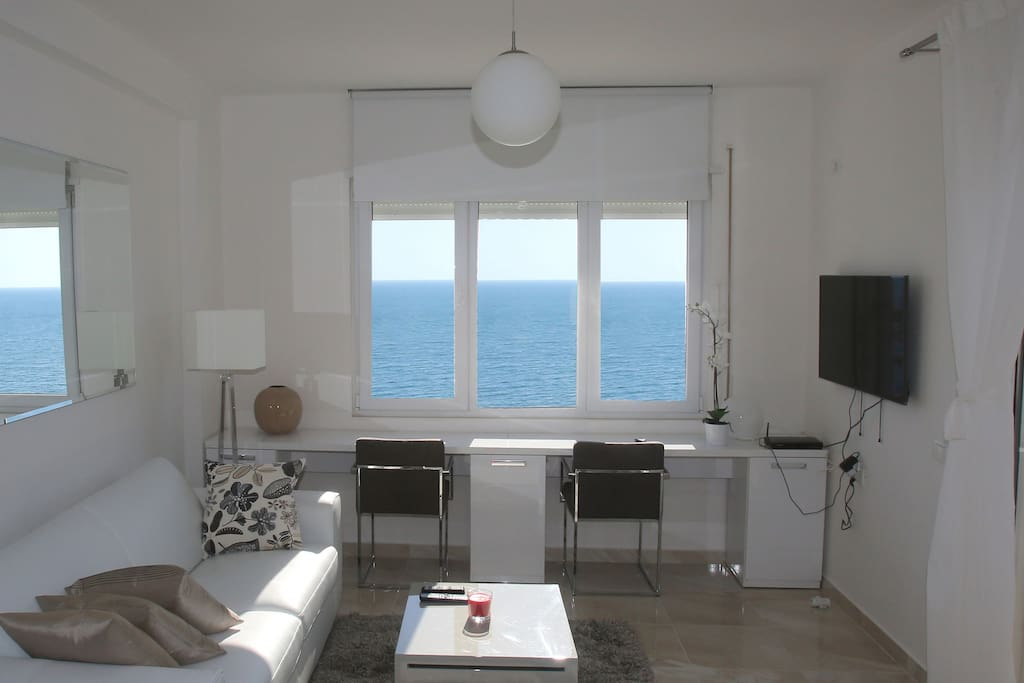 the living room with a great sea view