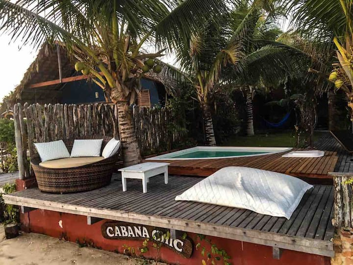 Cabana Chic - chalé/casa amplo de frente pro mar