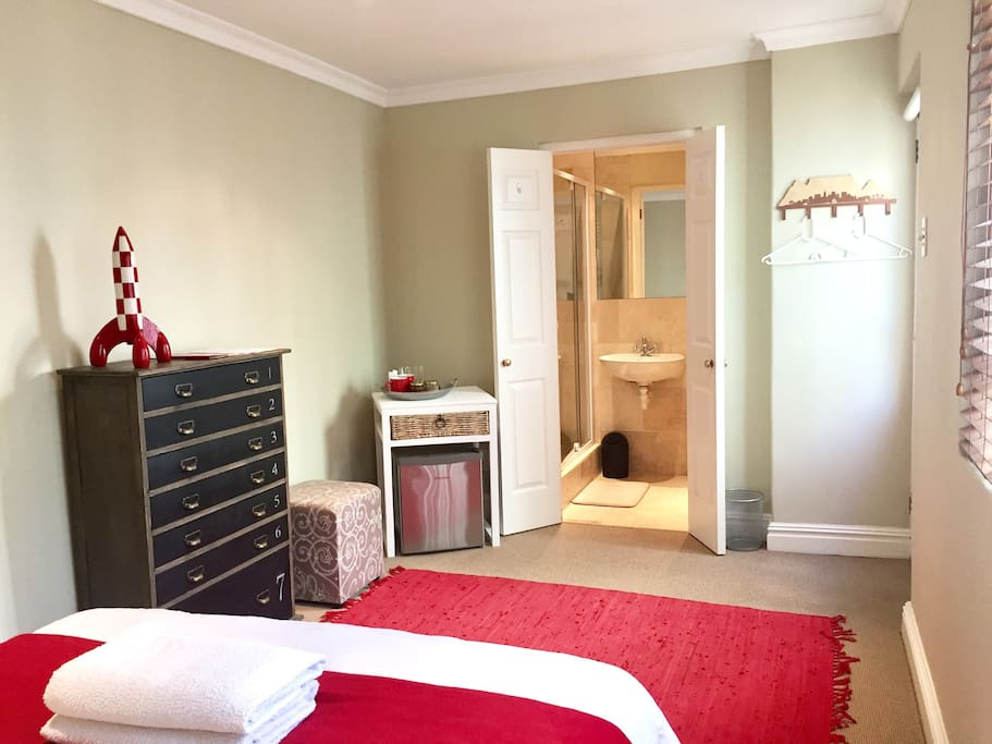 Spacious bedroom with a built in wall-heater; stay toasty in winter