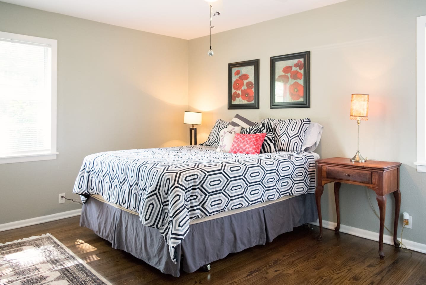 Large and private with en suite shower and toilet. I have a pack-n-play crib or an air mattress to sleep a 3rd guest.