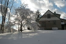 Winter time at Red Fox Townhouse with sleigh riding hills on the large property, sleds are provided! Snowstorm yesterday and the ski slope is OPEN!!!!!