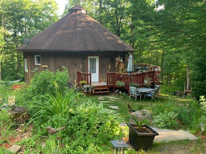 Maison ronde écolo, arts, paix en forêt