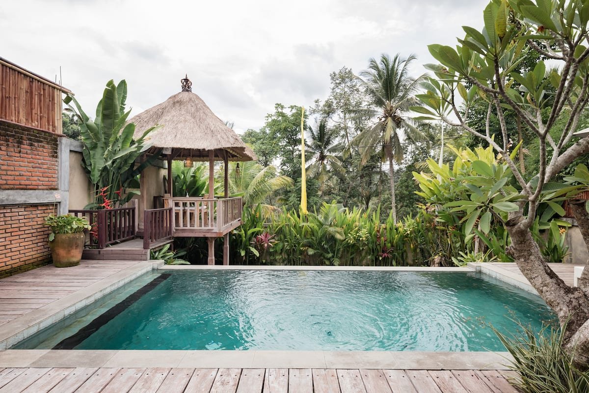Stunning view from private infinity pool at Ubud
