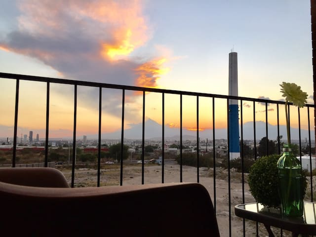 Relaxing place perfect to enjoy volcanoes sunset