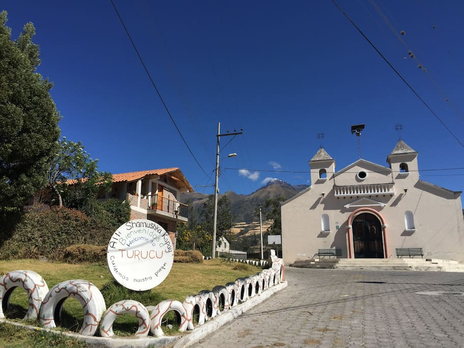 Ñukanchik Wasi (our house), the village chapel and Mountain Cotacachi