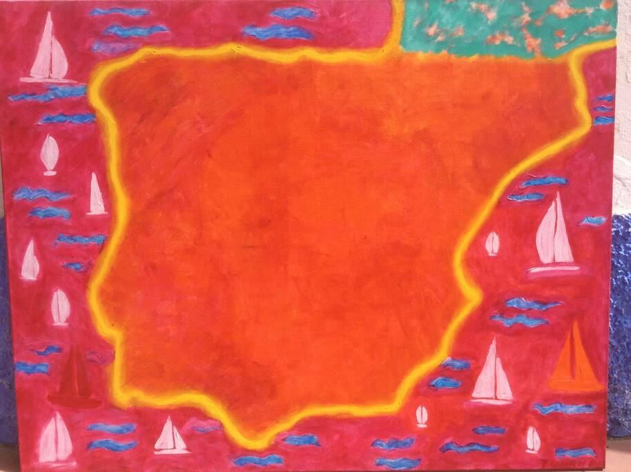 """Painting """"Hot Spain"""" 145x 114cm by Maija Tuurna in the second floor bedroom :""""Sol de España"""""""