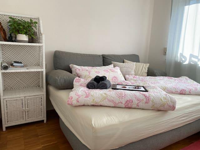 Schlafzimmer, Schlafsofa mit komfortabler Federkernmatraze und neuem, bequemen Topper