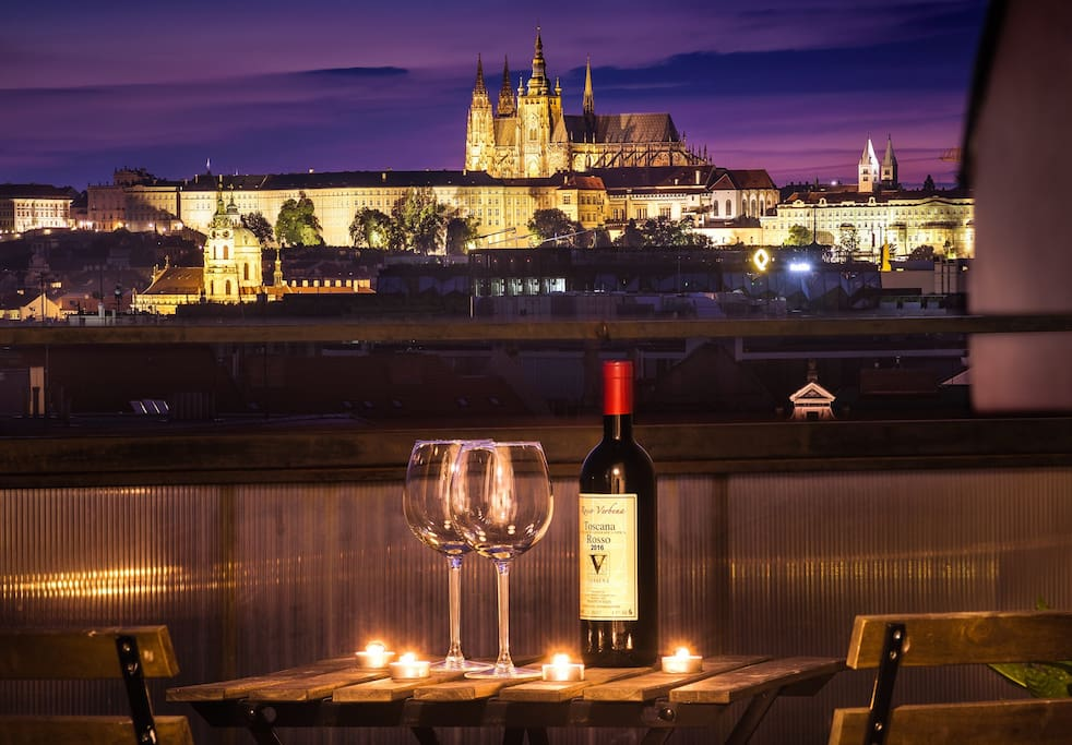 Famous Prague's night time scenery right at your terrace. Treat yourself to this unforgetful romantic experience.