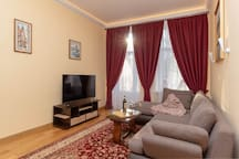 The living room with park view and 55inch 4K Smart TV