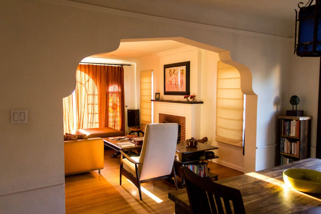 Open the shades to reveal a timeless stain-glass windows.