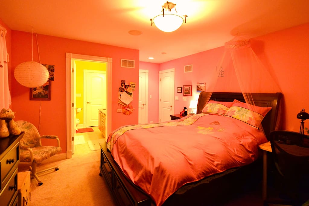 Charming, bright and quiet room with a very comfy queen bed and a large walk-in closet