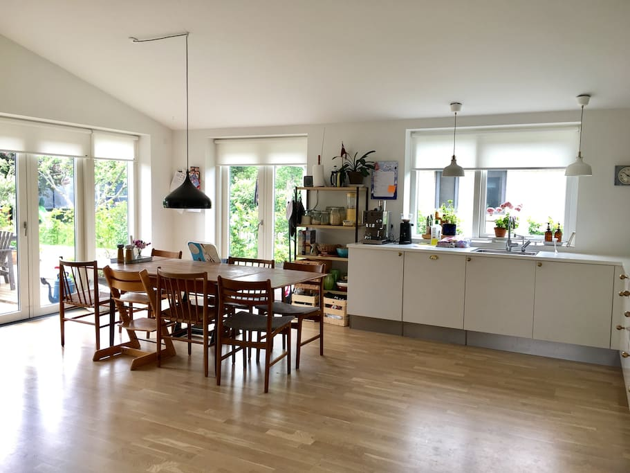 Kitchen and dining area. With two high chairs for kids (not closed chairs - for kids over 1,5 years)
