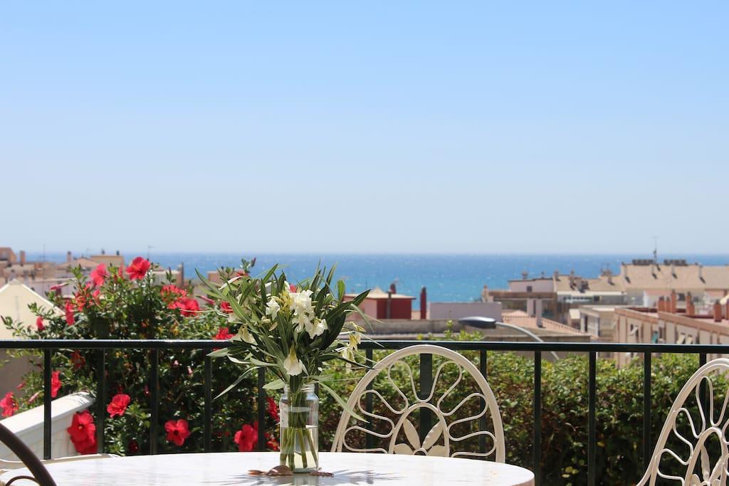 Terrasse mit Garten, Meeresblick