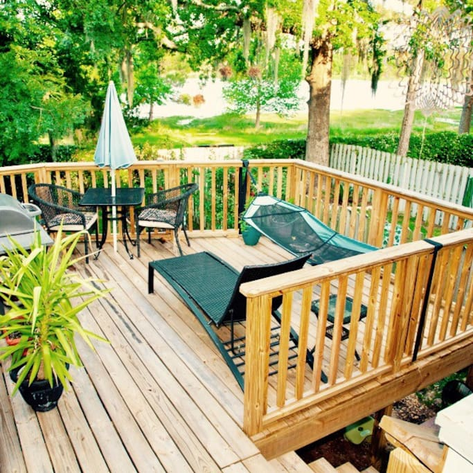 Back deck with lake view