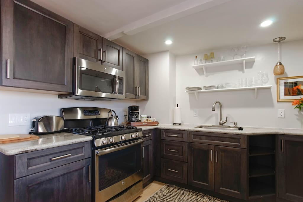 Fully furnished kitchen for your basic cooking needs.  All new appliances