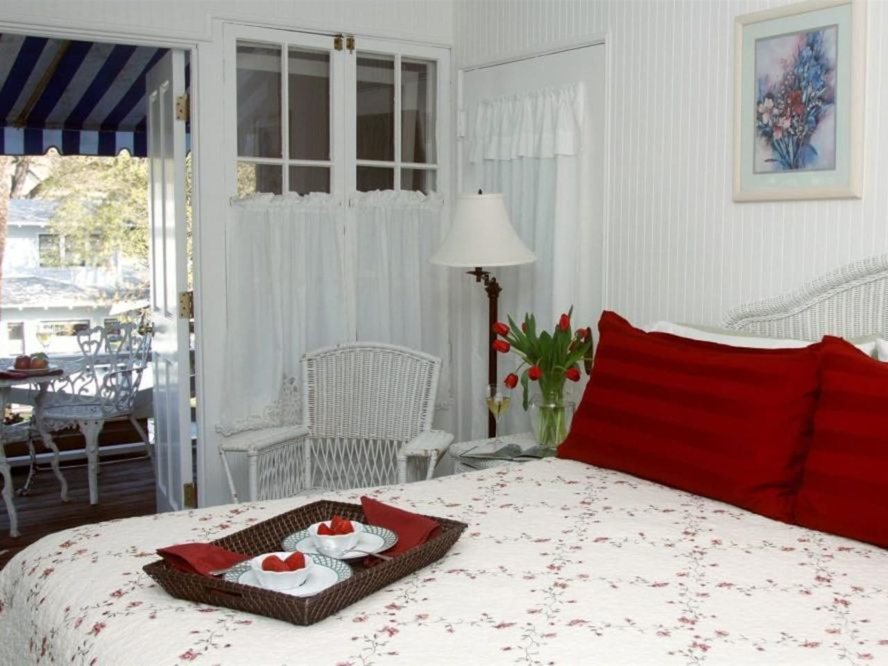 Breakfast in Bed or on your private balcony, in the Sun Room it's up to you! The only room with a 6 ft clawtub and a separate shower.  This sunny room is one of our most popular.