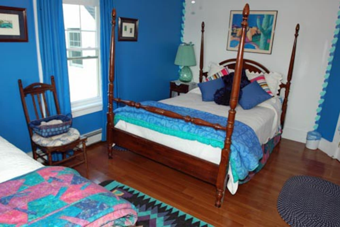 Lapis Lazuli has a Queen bed and a Twin bed and its own private bath.