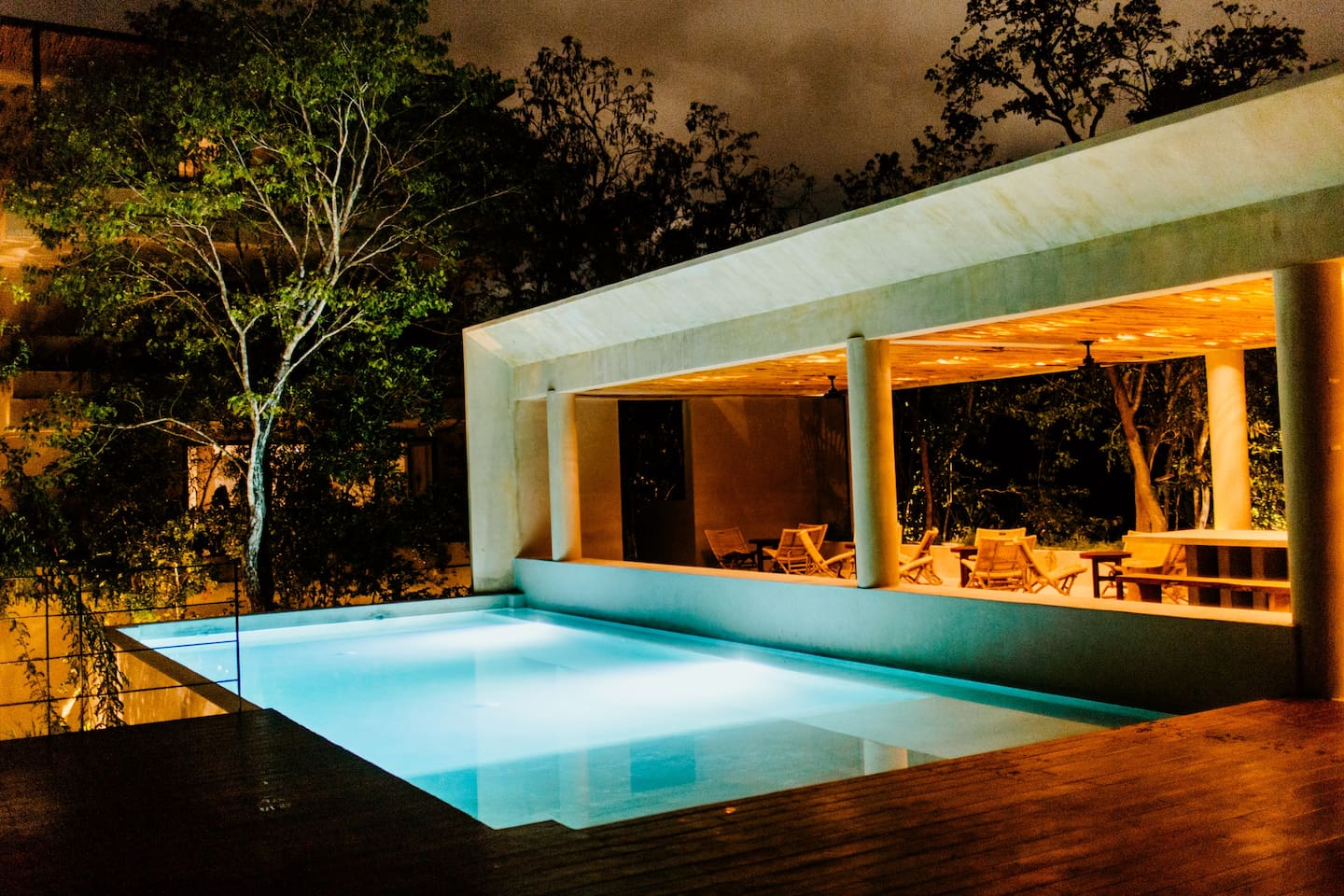 Picture yourself there, night swim in the best pool of Tulum.