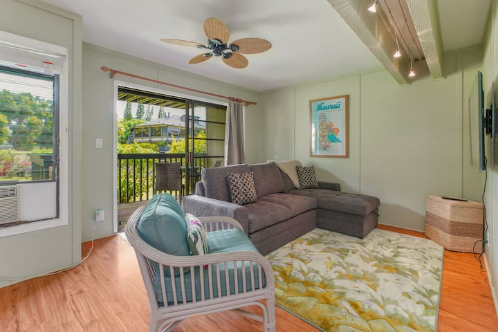 Convertible living room: watch a show (Roku-enabled TV, Netflix included), make a meal, or create your second bedroom. The sofa pictured here has a unique conversion that means a plush bed surface, no bar in the back, and ultimate comfort.