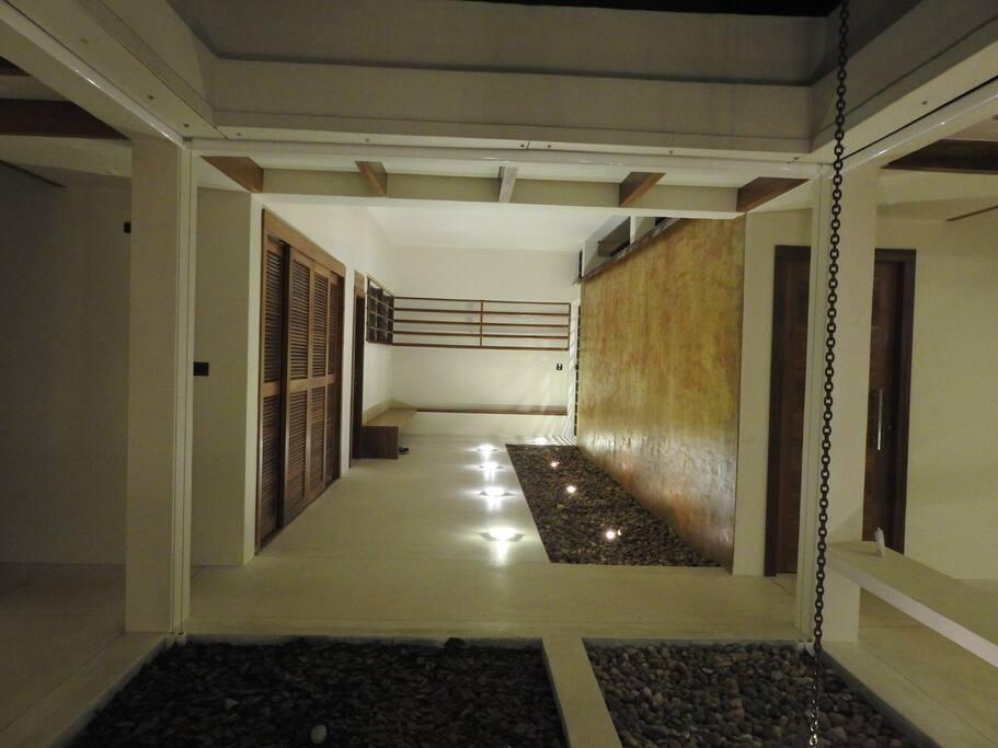 Entry hall at night