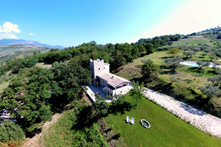 Villa with tower between olive trees with private swimming pool, nice view