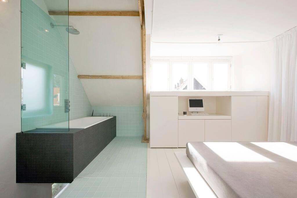 open Bathroom and Bedroom