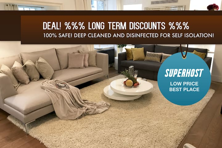 Disinfected! COVID-19 self-isolation 2 BEDR/2 BATH