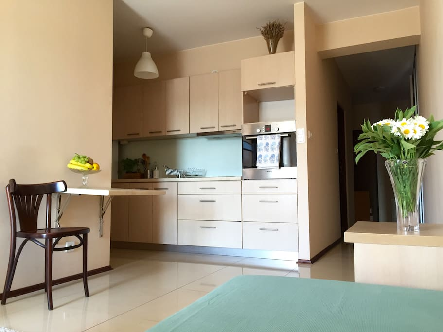 Fully equipped kitchen: cooking hob, oven, kettle, water filter, fridge with freezer. Free coffee and tea.