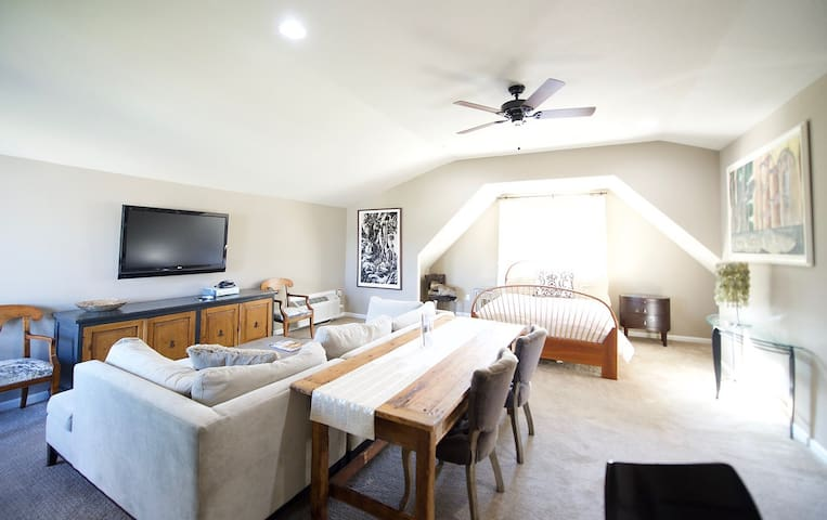 Open concept room,  comfy down-filled couch and TV