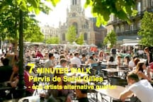 Parvis de Saint-Gilles, pedestrian plaza with daily morning market, busy nightlife, 7min. walk from the flat.