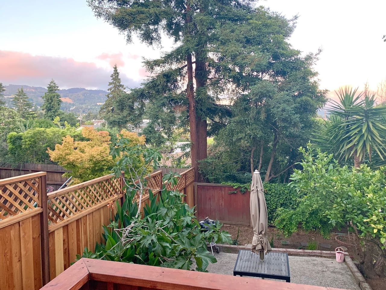 Sip coffee and watch the sun rise over the Oakland hills from your front door.