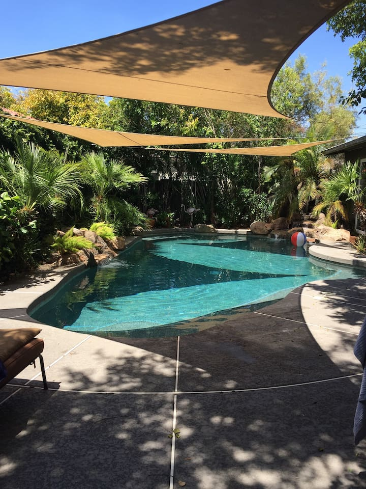 Pool area extremely private back yard
