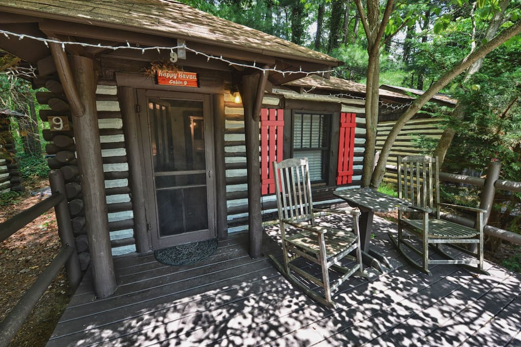 Asheville historic log cabin 9 happy haven cabins for for Rustic cabins near asheville nc