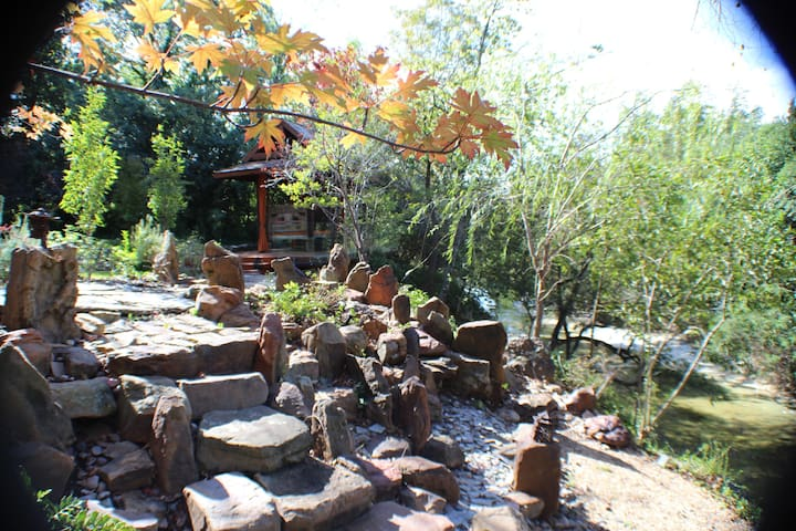 Rock Garden with day bed in the background