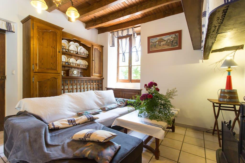 salon avec cheminée à bois