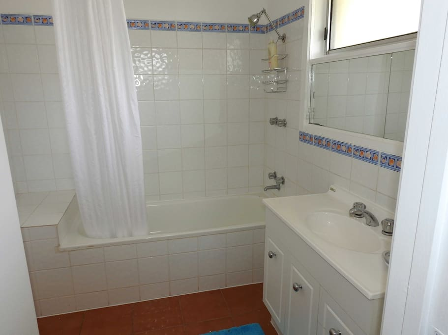 Shower and bath with separate toilet.