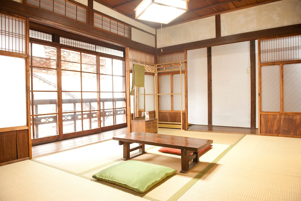 Traditional Japanese  room is sunny.