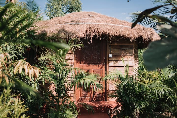 Beautiful wooden cottage located in the jungle