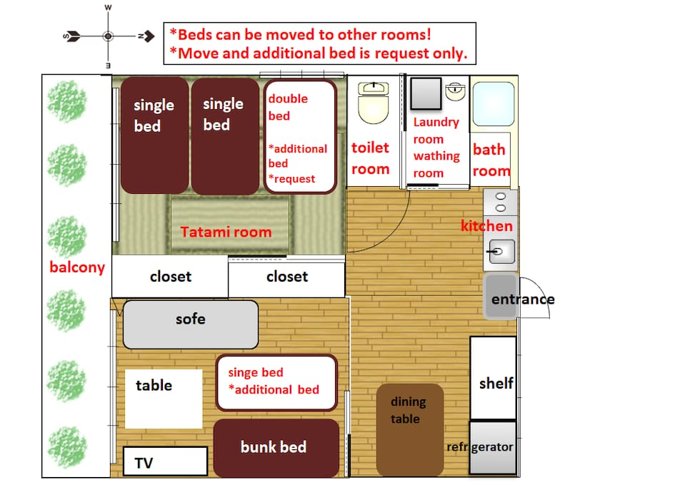 Room layout. 2bed room and 1 living room,