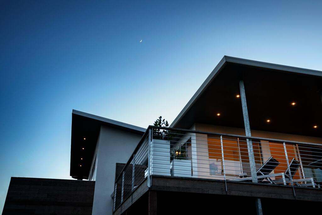 Villa Ciel (aka Villa in the Sky) at dusk