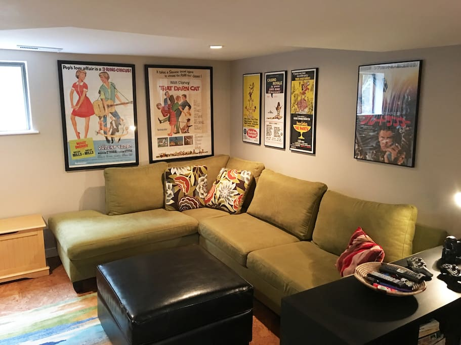 Living room and TV room with vintage movie posters