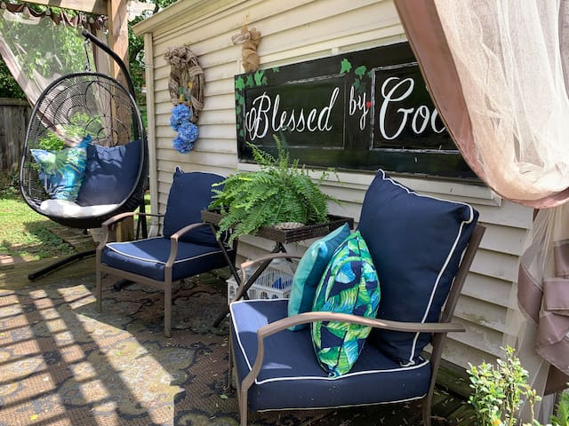 """~Our Outdoor Living Space...we like to call it out our, """"Back Yard Haven"""".♥️  *We have ash trays in every outside sitting area."""