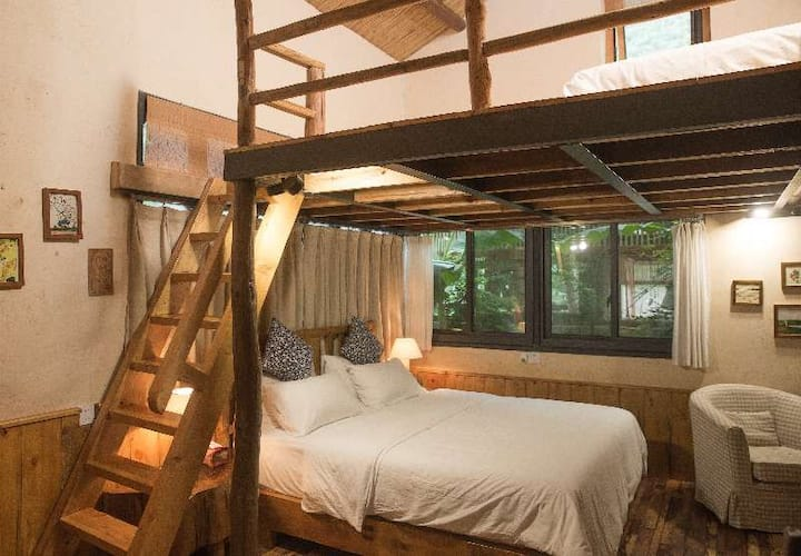 two beds loft wooden house